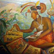 Pic 4: A Maya scribe at work. Detail from a mural by Rina Lazo, National Museum of Anthropology, Mexico City