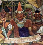 Totonac scribe; detail from a mural by Diego Rivera, National Palace, Mexico City