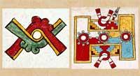 Pic 11: 'Dynamics... movement... balance... oscillation... duality...' Movement glyph, Codex Borgia (L), ballcourt, Codex Zouche-Nuttall (R)