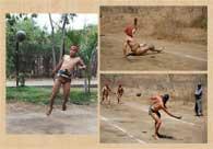 Pic 14: Young Los Llanitos player returning the ball in mid-air (L), La Savila player returning a 'male por abajo' (top R), Luis Lizarraga returning a 'male por arriba' (bottom R)