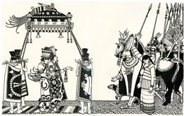 Pic 5: Moteuhzoma meets Cortés. Illustration by Keith Henderson, who pictures the Aztec leader 'leaning on the arms of the Lords of Tezcuco and Iztlapalapan'