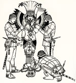 Pic 7: Motecuhzoma is shackled by the Spanish. Illustration by Keith Henderson