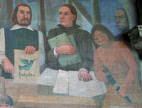 Pic 9: Early attempts to document Nahuatl literature; detail from a mural by Antonio González Orozco, Hospital de Jesús Nazarene, Mexico City
