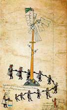 Pic 4: The pole ceremony relating to the feast of Xocotl Huetzi; Codex Borbonicus, fol. 28 (detail)