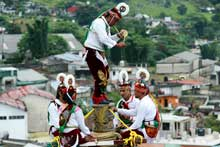 Pic 11: Close-up view showing the revolving 'tecomate' and leader performing on top of the platform, Cuetzalan