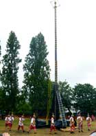 Pic 14: Voladores de Papantla processing round the pole prior to ascending; Origins Festival, London, June 2015