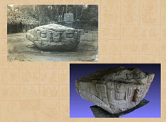 Maudslay's photograph of Zoomorph B at Quirigua, alongside a 3D model created by the Google Maya Project