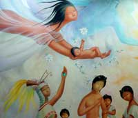 Pic 2: A Mexica newborn is compared to a precious jade: detail from mural by Regina Raúll, 'Paisaje Mexica' (1964), National Museum of Anthropology, Mexico City