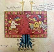 Pic 5: Our 'divine grandparents', Oxomoco (L) and Cipactonal (R), Codex Borbonicus, pl. 21 (detail)