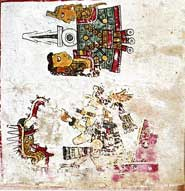 Pic 6: A large Cipactli (Alligator) day sign sits alongside Tonocatecuhtli and the 'first couple'; Codex Borgia pl. 9 (detail)