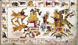 Pic 8: Tonacatecuhtli (Ometeotl?), patron of the day 1-Alligator (bottom right box, and in the deity's headdress), and the creation of the first couple; Codex Borgia, pl. 61 (detail)