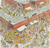 Pic 6: Artist's reconstruction of the market at Tikal; illustration by Peter Speir