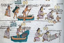 Pic 8: Depiction in the Codex Mendoza (fol. 60, detail) of Aztec boys being taught by their fathers how to collect wood and fish, and of Aztec girls being taught by their mothers how to grind corn, make tortillas, and weave