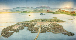 Pic 3: The city of Tenochtitlan in 1519; painting by Miguel Covarrubias, National Museum of Anthropology, Mexico City