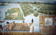 Pic 4: Farming on the chinampas, Tenochtitlan; oil painting by José Muro Pico, National Museum of Anthropology, Mexico City