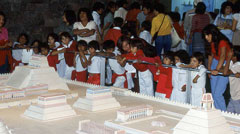 Pic 6: Mexican school children admire the large model of Tenochtitlan's city centre, National Museum of Anthropology, Mexico City