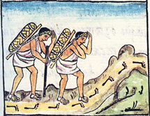 Pic 7: Aztec porters crossing rough terrain, Florentine Codex; there were no draft animals like mules to pull wheeled vehicles…)