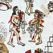 Pic 12: Two Aztec priests pricking tongue and ear, Codex Magliabecchiano, fol. 79, detail