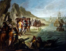 Pic 18: : Painting 'The Arrival of Cortés in Mexico' by Vicente Alanís, Archivo General de Indias, Seville
