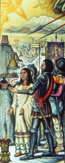 Pic 19: Cortés arrives in Tenochtitlan – detail from a folding screen-mural by Roberto Cueva del Río; notice Doña Marina interpreting, and the image of the god Quetzalcóatl hidden in the distance just behind Cortés
