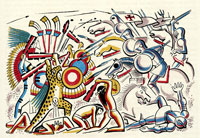Pic 2: War in Tlaxcala – illustration by Miguel Covarrubias