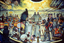 Pic 3: The meeting between Moctezuma II and Cortés: screen mural by Roberto Cueva del Río