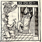Pic 4: Moctezuma is shackled by the Spaniards; Florentine Codex Book 12