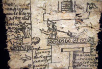 Pic 6: Moctezuma addresses a crowd – and appears to be strangled by his Spanish captor; Codex Moctezuma, detail