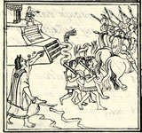 Pic 7: An Aztec woman fetching water raises the alarm as the Spanish flee… Florentine Codex Book 12