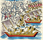 Pic 12: Fighting on the causeways – illustration by Miguel Covarrubias
