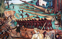 Pic 19: Detail from a 1951 mural by Diego Rivera in the National Palace, Mexico City depicting Spanish slavery in Mexico