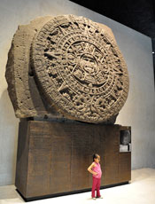 Pic 4: : The original Aztec Sunstone on display today in the National Museum of Anthropology, Mexico City – it weighs 24 tons!)
