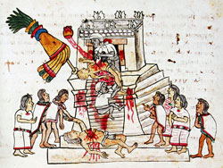 Pic 7: Scene of human sacrifice, Codex Magliabechiano, fol. 70r – drawn AFTER the Conquest