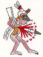 Pic 9: Illustration by Miguel Covarrubias of a 'red-striped prisoner' being sacrificed, based on the Codex Borgia, p. 19