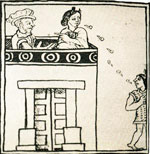Pic 11: Doña Marina alongside Cortés speaks to the Aztecs below, Florentine Codex, Book 12