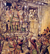 Pic 12: Moctezuma addresses/is attacked by his own people, from the Enconchado series of colonial depictions of the Conquest of Mexico, Museo del Prado, Madrid