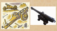 Pic 13: Spanish 16th century cannons – illustration by Miguel Covarrubias, and on display, Real Alcaázar, Seville