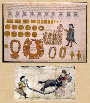 Pic 2: Spanish torture and killing of indigenous Mexicans; Codex Kingsborough (top) Manuscript of a Dogging (below)