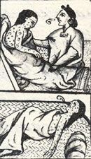 Pic 8: An Aztec woman tends to a smallpox victim; Florentine Codex Book 12, detail