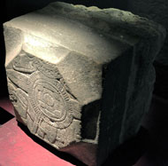 Pic 10: Aztec stone slabs were re-used by the Spanish; this piece - probably the base of a church column - bears images of Tlaltecuhtli (earth deity). Nahua labourers made sure the images remained concealed, in contact with the earth itself...