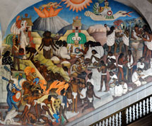 Pic 12: Mural of the Spanish invasion of Mexico by Diego Rivera, Palacio Nacional, Mexico City