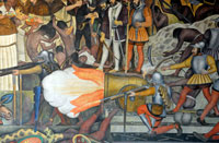 Pic 15: 'Clearly technology also played a role'. Spanish weapons - detail from a mural of the Conquest by Diego Rivera, Palacio Nacional, Mexico City
