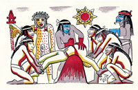 Pic 16: Aztec 'human sacrifice'; illustration by Miguel Covarrubias