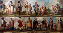Pic 20: Oil painting depicting a range of 'castas' - part of a hierarchical mixed-race category system used in colonial Mexico; painted by Luis Berrueco (18th century, Mexico); Museo de América, Madrid
