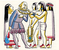 Pic 3: Malinche interprets for Cortés as Aztec envoys send him gifts from the emperor Moctezuma; illustration by Miguel Covarrubias