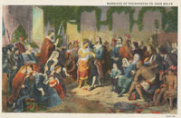 Pic 4: The Marriage of Pocahontas to John Rolfe: vintage colonial era US postcard