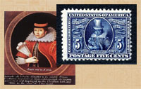 Pic 5: Portrait of Pocahontas as Rebecca Rolfe and commemorative stamp
