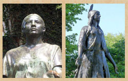 Pic 7: Statues to Malinche (monument to 'mestizaje', Mexico City, L) and to Pocahontas (statue outside St. George's Church, Gravesend, Kent, R)