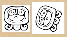 Pic 2: The Maya glyph 'ajaw'; and the glyph placed on its side