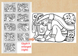 Pic 3: Group of 'Initial Series' or 'Long Count' calendar glyphs from Stela D at Copan (L), with the one at bottom right (no. 9) enlarged (R)